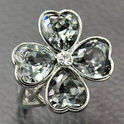 Rhinestone Clover Heart Shaped Ring - SILVER 18