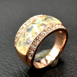 Rhinestone Natural Stone Insert Ring