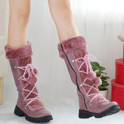Zipper Pompoms Platform Mid Calf Boots