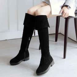Tie Up Zipper Flat Heel Thigh Boots - BLACK