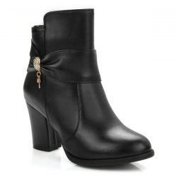 Metal Rhinestones Zipper Ankle Boots - BLACK