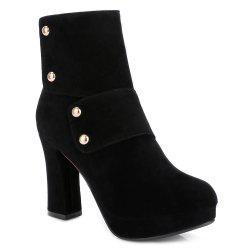 Zipper Studded Platform Ankle Boots