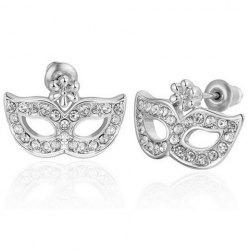 Rhinestone Mask Shaped Stud Earrings