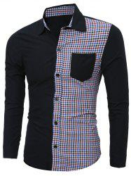 Plaid Splicing Long Sleeve Shirt -