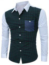 Tartan Splicing Long Sleeve Shirt