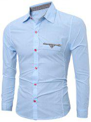 Plaid Edging Spliced Long Sleeve Shirt -