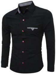 Plaid Edging Spliced Long Sleeve Shirt - BLACK 2XL