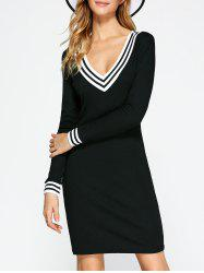 Cricket Long Sleeve Knitted Dress - BLACK