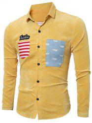 Stripe Appliques Long Sleeve Corduroy Shirt