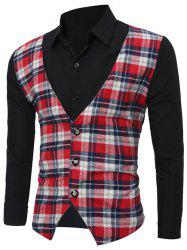 Faux Twinset Checked Vest Spliced Long Sleeve Shirt - RED/WHITE 2XL
