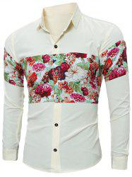 Floral Print Spliced Long Sleeve Shirt