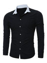 Polka Dot Print Spliced Long Sleeve Shirt