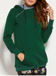 Double Hooded Drawstring Hoodie with Front Pocket - BLACKISH GREEN 2XL