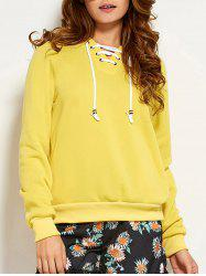Lace Up Hoodie - YELLOW L