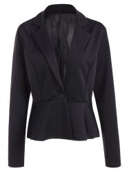 Fitted One Button Jacket Peplum Blazer -