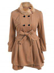 Double Breasted Furry Collar Wool Coat