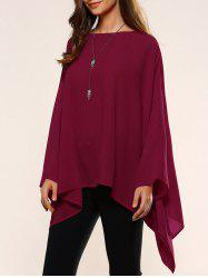 Slash Neck Asymmetrical Smock Blouse