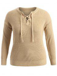 Pullover Plus Size Sweater - LIGHT KHAKI