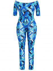 Plus Size Geometric Pattern Jumpsuit