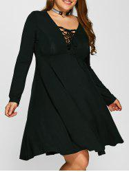 Plus Size Lace-Up Empire Waist Dress - BLACK
