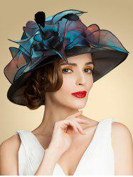 Summer Church Organza Flat Fedora Sun Hat - BLUE