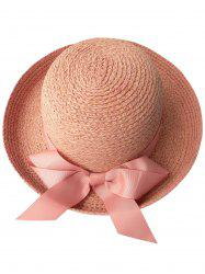 Casual Bowknot Bowler Straw Hat - PINK