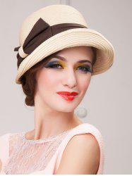 Casual Travel Bowknot Dome Brimmed Fedora Straw Hat - BEIGE