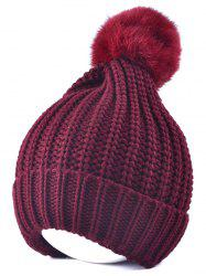 Winter Crochet Fur Pom Ball Beanie Hat