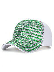 Bling Rhinestone Embellished Baseball Hat - WHITE