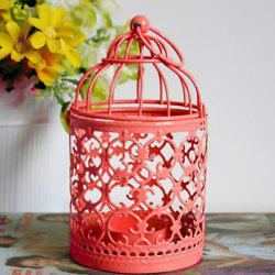 Home Decorative Hanging Birdcage Iron Candle Holder ( Without Candle ) - RED
