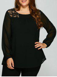 Plus Size Lace Trim Sheer Sleeve Blouse -
