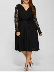 Plus Size Lace Sleeve A Line Midi Surplice Dress