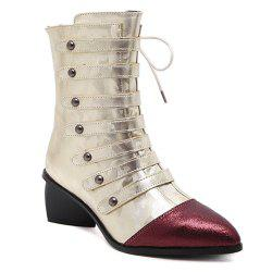 Straps Back Zip Up Pointed Toe Short Boots - GOLDEN
