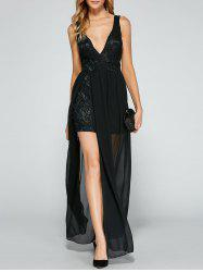 V Neck Chiffon Slit Backless Robe de bal - Noir