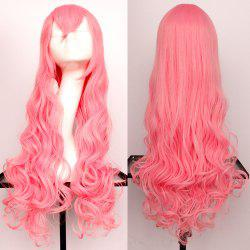 Long Side Bang Wavy Synthetic Cosplay Wig - ORANGEPINK
