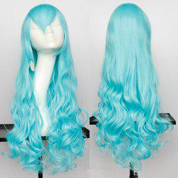 Long Side Bang Wavy Synthetic Cosplay Wig - CYAN