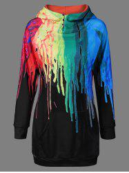 Oil Paint Over Print Hoodie - BLACK