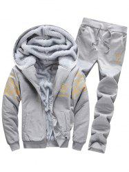 Zip Up Flocking Hoodie and Drawstring Pants Twinset