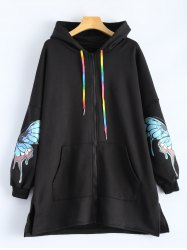 Butterfly Print Pocket Design Zip Up Hooded Coat - BLACK