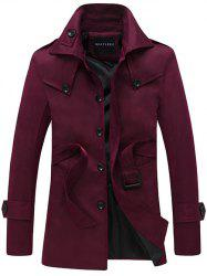 Turndown Collar Single Breasted Epaulet Design Coat