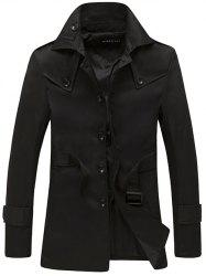 Turndown Collar Single Breasted Epaulet Design Coat - BLACK