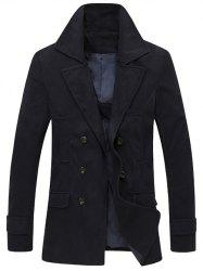 Turndown Collar Double Breasted Wool Coat -