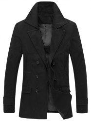 Turndown Collar Double Breasted Wool Coat - BLACK