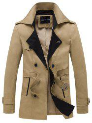 Double Breasted Belt Embellished Trench Coat - KHAKI