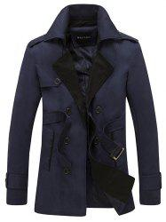 Double Breasted Belt Embellished Trench Coat