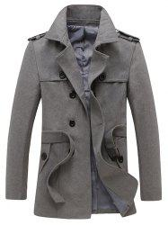 Epaulet and Belt Design Double Breasted Woolen Coat