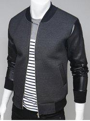 PU Leather Splicing Stand Collar Zip Up Jacket - GRAY 2XL