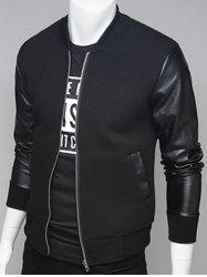 PU Leather Splicing Stand Collar Zip Up Jacket - BLACK