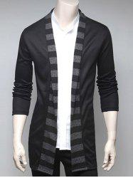 Stripe Design Turndown Collar Cardigan - BLACK 2XL