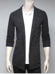 Slimming Turndown Collar Cardigan - DEEP GRAY XL